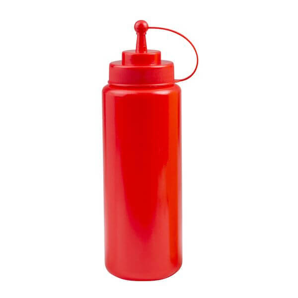 Squeeze Bottle - Wide Mouth With Cap 1000ml Red  - 45132-R
