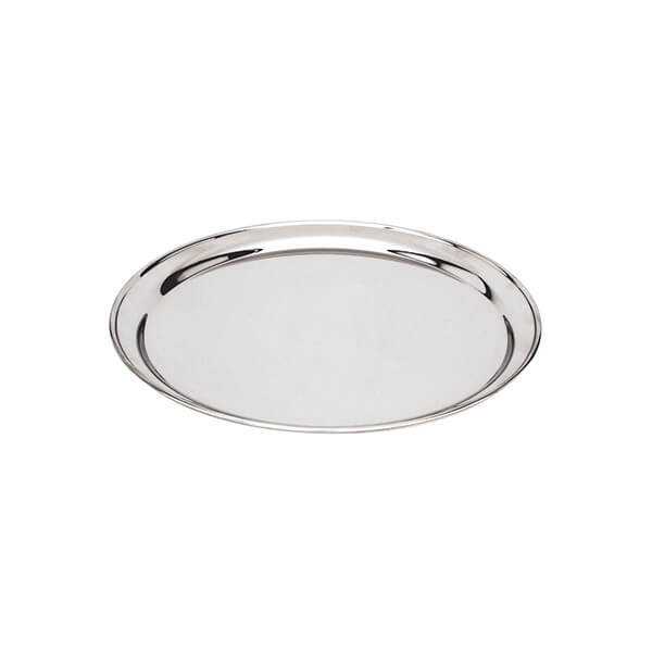 Round Tray / Platter 300mm - 18/8 Stainless Steel Heavy Duty Rolled Edge - 76130