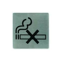 No Smoking Wall Sign - Adhesive Back 130x130mm Stainless Steel - 57795
