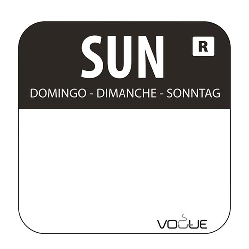Day of the Week Label Sunday Roll (1000 Labels) - S151-SUN