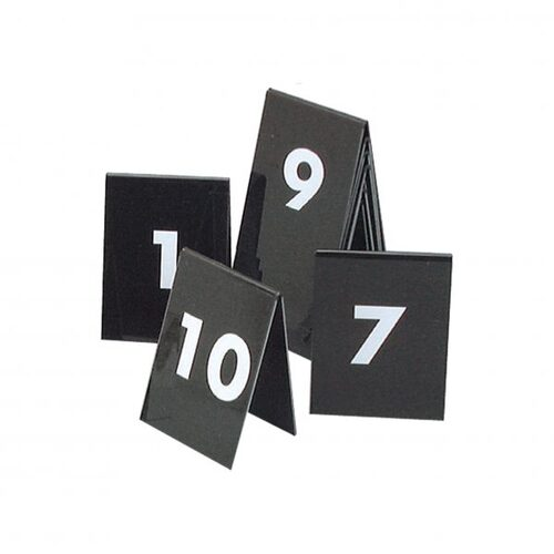Table Numbers 21-30 50x55mm  (White on Black)