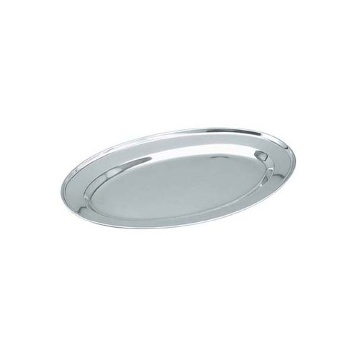 Chef Inox Platter - Oval  -  Stainless Steel 350mm Rolled Edge