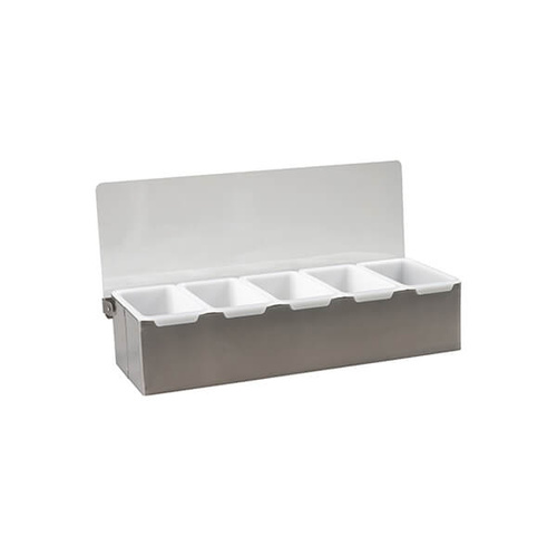 Condiment Dispenser 5 Compartment 385x150x90mm - 18/10 Stainless Steel