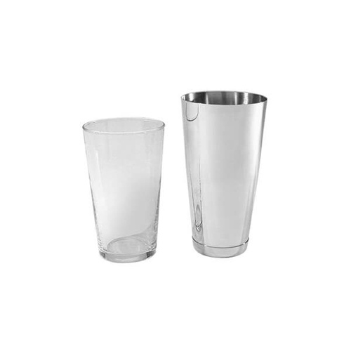 American Style / Boston Cocktail - Complete With Base & Glass Shaker 830ml - 18/8 Stainless Steel
