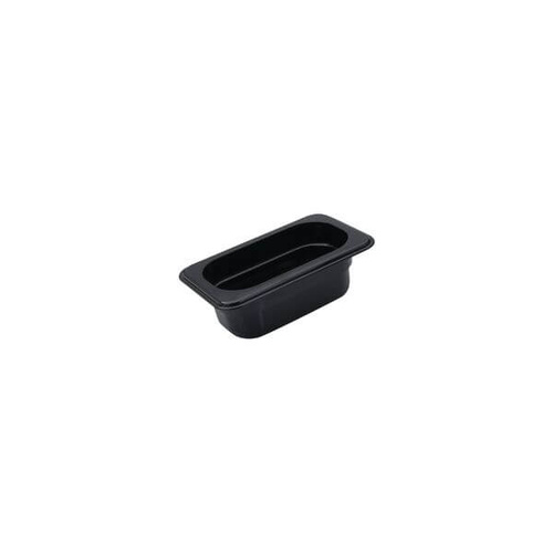 Polycarbonate Gastronorm Pan Black 1/9 Size 176x108x100mm / 0.85Lt