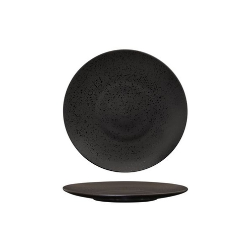 Luzerne Lava Black Round Flat Coupe Plate Black 205mm - Box of 6