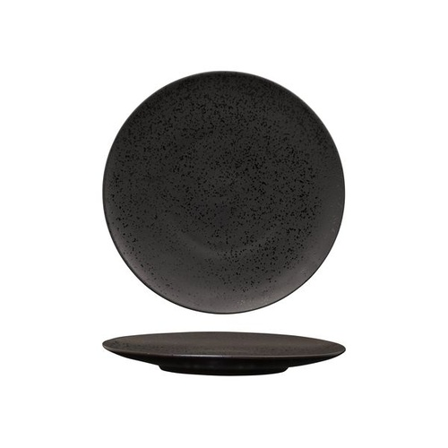 Luzerne Lava Black Round Flat Coupe Plate Black 225mm - Box of 6