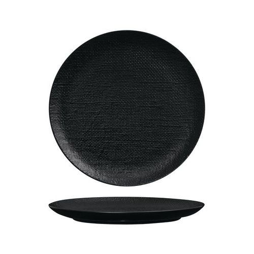 Luzerne Linen Black Round Flat Coupe Plate Black 285mm - Box of 4