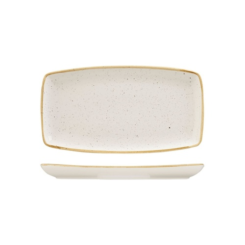 Stonecast Trace Barley White Oblong Plate Barley White 295x150mm