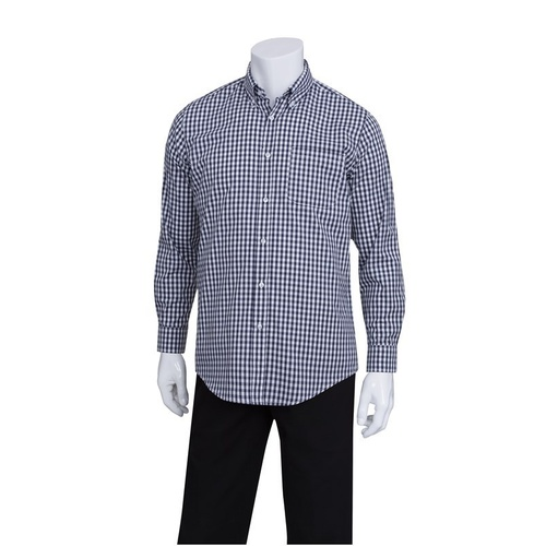 Chef Works Gingham Men's Navy Dress Shirt - D500-BWK