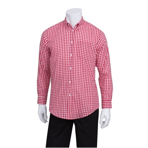 Chef Works Gingham Men's Red Dress Shirt - D500-WRC