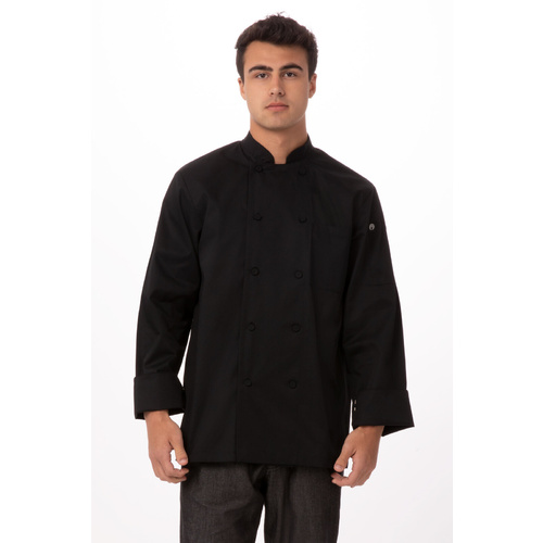 Chef Works Calgary Black Cool Vent Chef Jacket - JLLS-BLK-4XL