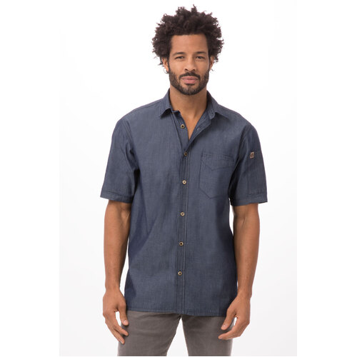 Chef Works Detroit Indigo Blue Short-Sleeve Denim Shirt - SKS002-IBL