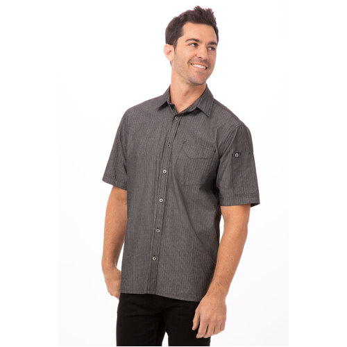 Chef Works Detroit Black Striped Denim Shirt - SKS003-BLK
